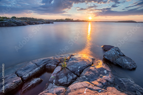 Fényképezés  Sunset at Ladoga Lake in Karelia, Russia
