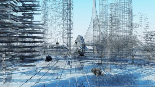 Obrazy wieloczęściowe Miasto przyszłości