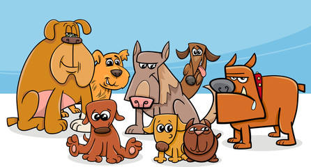 Fototapeta Pies dogs group cartoon