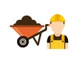 builder with wheelbarrow isolated icon design