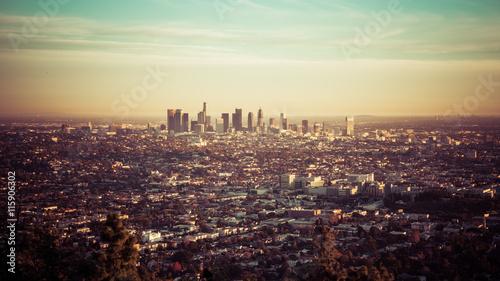 Obraz na płótnie Los Angeles skyline o zachodzie słońca