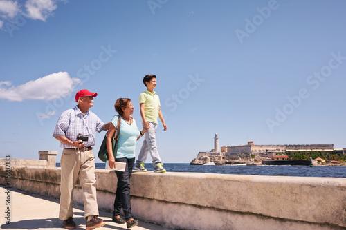 Poster Havana Grandparents Grandson Family On Holidays In Havana Cuba