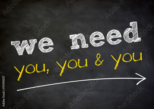 Fotografía  we need you - chalkboard background concept