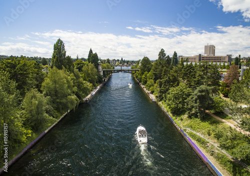 Canvas Prints Channel Montlake Cut Canal in Lake Washington Connecting to Lake Union in Seattle, WA