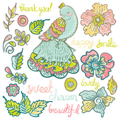 Collection of colorful doodle floral elements and bird