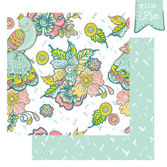 Seamless Floral Card with  bird