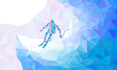 FototapetaGiant Slalom Ski Racer silhouette. Vector illustration