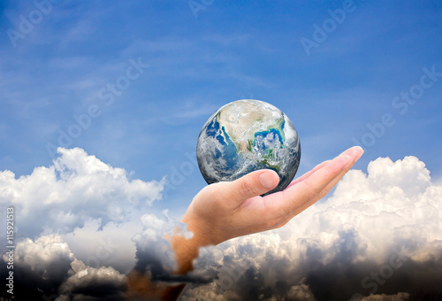 Deurstickers Nasa Planet earth on palm.Elements of this image furnished by NASA