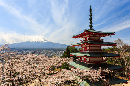 Fototapeta Chureito Pagoda or Red pagoda with Mt. Fuji as the background.