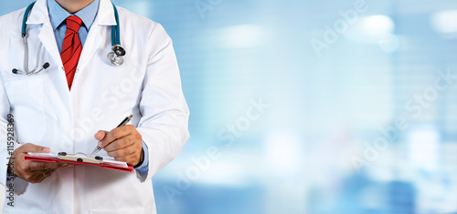 plakat Doctor Writing Prescription - Clinic Blurred Background