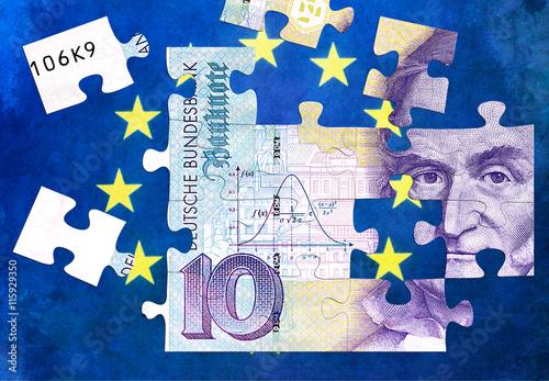 Tuinposter Wereldkaart Puzzle D-Mark Währung Europa