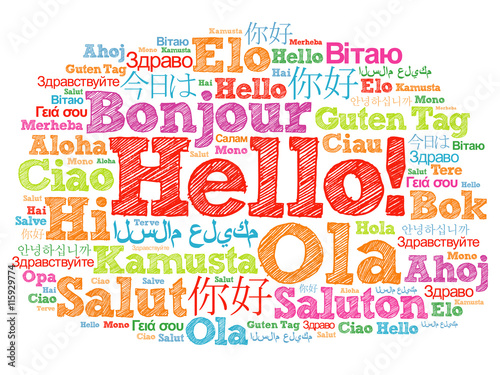 Valokuva  Hello word cloud in different languages of the world, background concept
