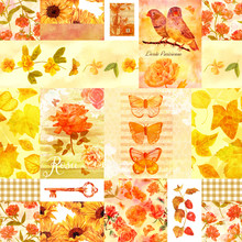 Seamless Golden Vintage Collage With Birds, Flowers, Butterflies
