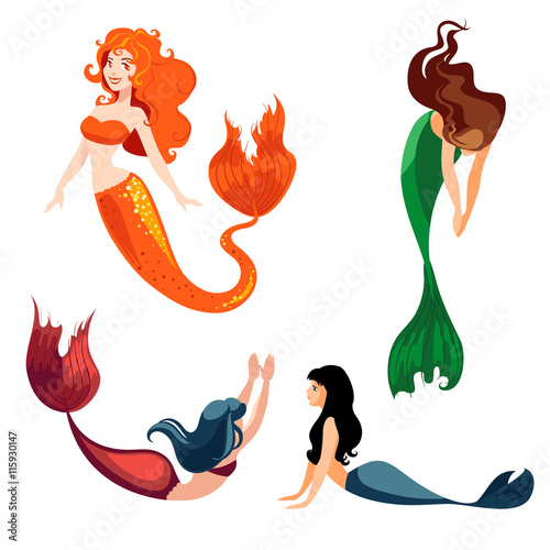 Set of mermaids isolated on white background. Poster
