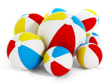 Multi Colored Sea Balls Isolated On White Background. 3D Illustration