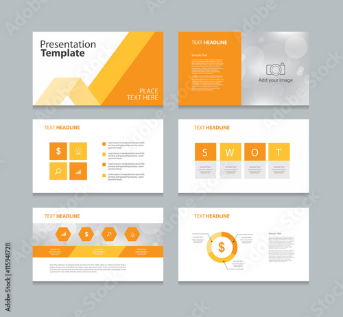orange page presentation layout design template with info graphic