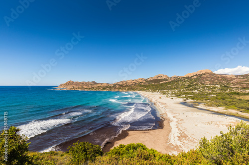 Tuinposter Centraal-Amerika Landen View of Ostriconi beach and Desert des Agriates in Corsica