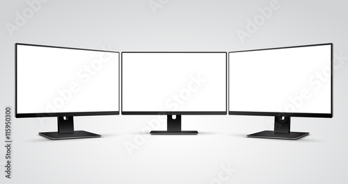 Three Computer Monitors with Ultra-thin display border with blank white screen Mockup