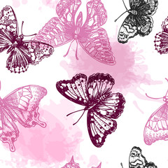 Panel Szklany Skandynawski hand drawn butterflies