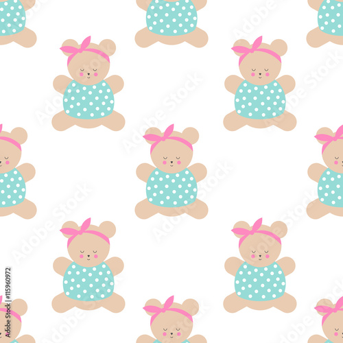 Teddy Bear Seamless Pattern Cute Cartoon Girl Teddy Bear Vector Illustration On White Background Baby Shower Background Fashion Design For Textile Wallpaper Web Fabric Decor Etc Buy This Stock Vector And