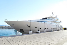 Luxury Yacht Parked At Dock