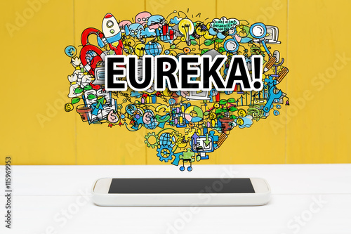 Eureka concept with smartphone Canvas Print