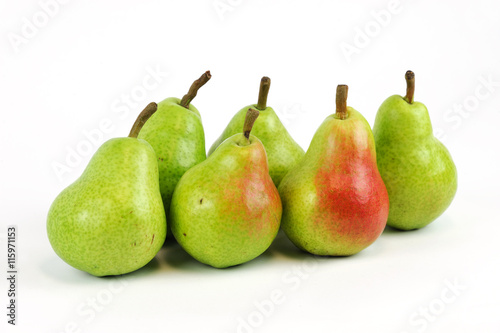 fresh Bartlett pears isolated on white background Canvas Print