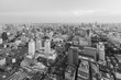 Black and White, Aerial view Bangkok city downtown skyline, Thailand