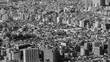 Black and White, Aerial view Tokyo city residence area, Japan