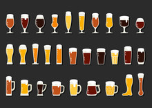 Vector Icons Set Of Beer With Foam In Mugs And Glasses