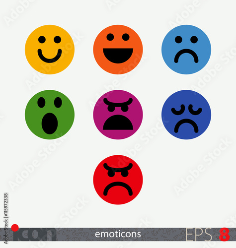 Flat vector emoticons  Smiley, emoji set  Emotional feedback for