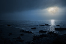 Empty Seaside In A Cloudy Full...