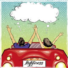 Happy Couple In A Car Driving Away. Vector Illustration In Retro Pop Art Style. Love Romance Concept