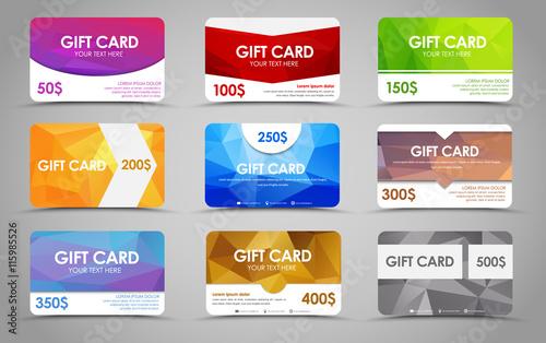 Fotografia  Set polygonal gift cards