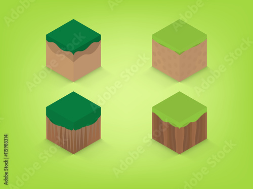 Photo  isometric earth with green background