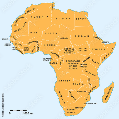 Valokuvatapetti Africa political map with scale
