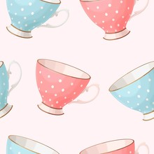 Seamless Vintage Teacups