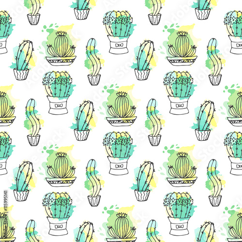 Cotton fabric Seamless vector pattern with cactus. Colorful background with watercolor splashes and cacti. Succulent collection.