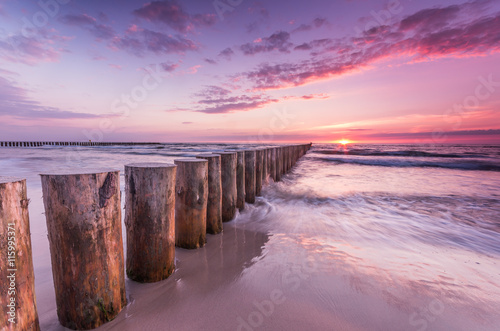 Fototapety, obrazy: Wooden breakwater - Baltic seascape at sunset, Poland