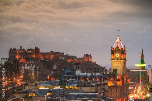 Poster Amsterdam Old town Edinburgh and Edinburgh castle