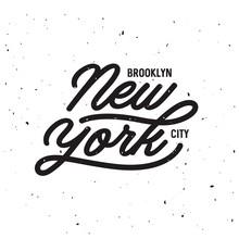 Vintage Hand Lettered T-shirt Design. New York City Text. Vector Illustration.