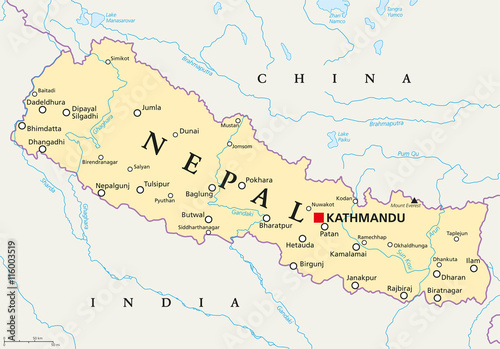 nepal political map with capital kathmandu national borders cities and rivers federal democratic