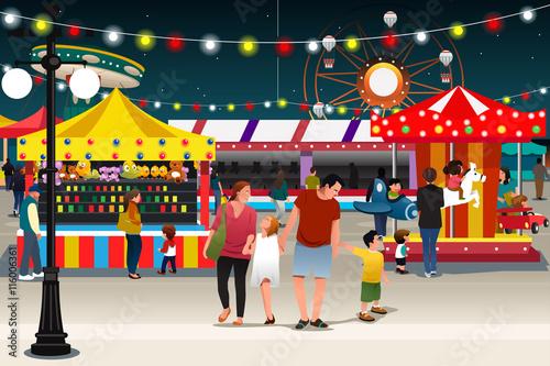 Fotografie, Obraz  Family Going to Night Market