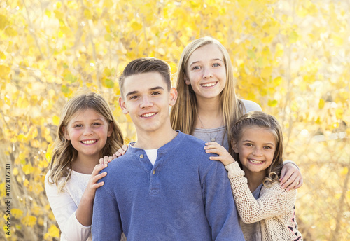 Fotografie, Obraz Beautiful Portrait of smiling happy kids outdoors