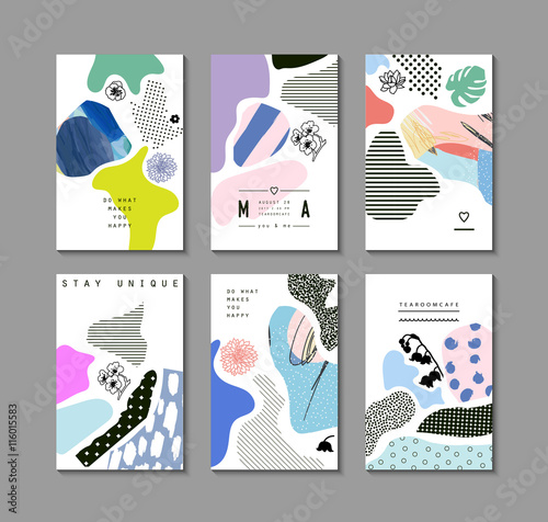 Fotografie, Obraz  Collection of trendy creative cards with floral elements and different textures