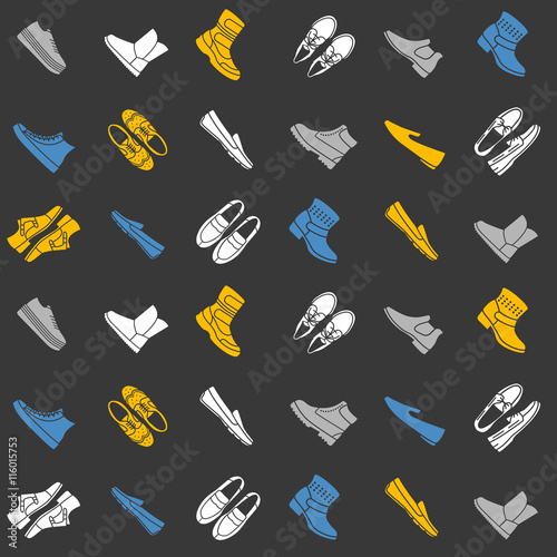 Seamless pattern with flat icons of mens shoes Poster