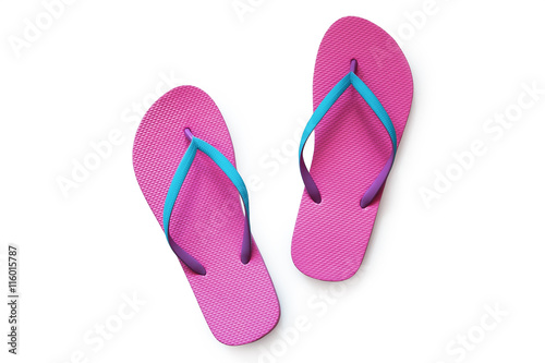 816ce6997f1e Pink flip flops isolated on white background. Top view - Buy this ...