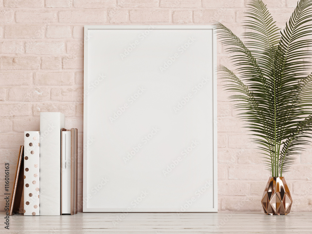 Fototapety, obrazy: mock up frame on rose brick  wall, 3d rendering
