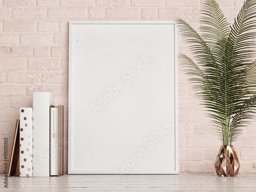 Obraz mock up frame on rose brick  wall, 3d rendering - fototapety do salonu