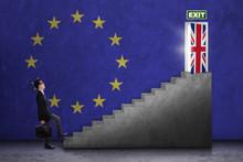 Businessman Walks Toward Brexit Door
